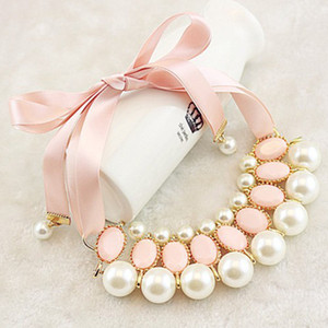 Wholesale Girls fashion faux pearls Necklaces Sweet Lady Girl Pearl Pink Ribbon Chunky Collar retail kids wedding party wear T0279