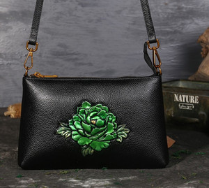 embossed rose bag classical flower shoulder wholesale Peony lotus Kingfisher sunflower bags cross body handbag women purse AU Fr US EUR on Sale