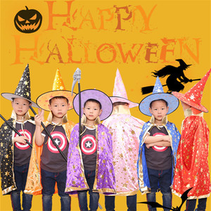 Wholesale Halloween cloak childrens clothing cloak hat for school bar and mall masquerade cosplay unisex magician witch costume