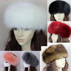 34 colors Womens Faux Fox Fur Headband Luxury Adjustable Winter warm Black White Nature Girls Earwarmer Earmuff on Sale
