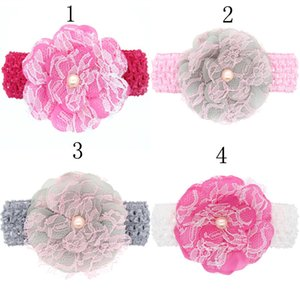 Wholesale 8pcs Hair Bands Baby Girls Children Chiffon Flower Headbands Crochet Headband Elastic Flower Hair Accessories Headwear Per H008