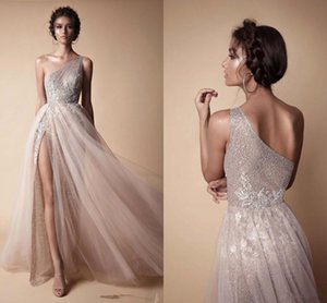 Wholesale 2018 One Shoulder Lace Long Prom Dresses Elegant Tulle Applique Split Floor Length Formal Evening Party Wear Gowns vestidos de fiesta BA7859