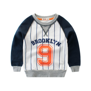Baby Boy Sweatshirt Pure Cotton Shirt Children Long Sleeve Tops Kids Baseball Hoodie Striped Printing BY-045