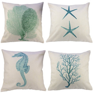 Wholesale linen pillow cover green for sale - Group buy Hand Painted Linen Pillow Case Marine Style Seabed Organisms Coral Cushion Starfish Hippocampus Seaweed Cover Easy To Use qt dd
