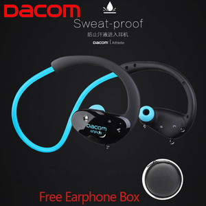 Wholesale Dacom Athlete NFC Cordless Ear Hook Sport Bluetooth earpiece Sweatproof Mini Wireless Hifi Bass Headphones With Microphone sportsheadset