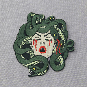Wholesale The Bleeding Medusa Mend Embroidery Patches Iron On Sewing Applique Badge Clothes Large Patch Stickers For Jackets Jeans Garment Accessories