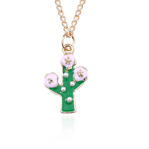 Wholesale DIY Trendy Plant Pendant Cartoon Cactus Necklace Gold Chain Coconut Necklaces Pendants For Women Girl New Year Gift DropShipping