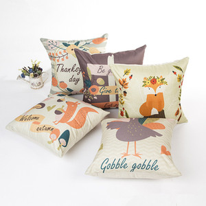 Wholesale polyester cotton sofa cover resale online - Thanks Giving Style Cotton Linen Cushion Cover Squirrel Foxes Duck Printed Pillow Case For Sofa Car Home Decorative