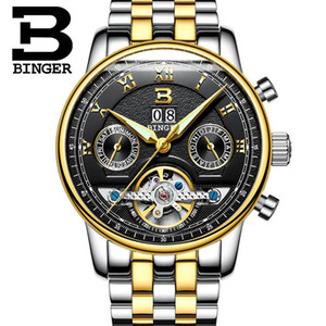 механические часы оптовых-BINGER Tourbillion Black Golden Wave Dial Fashion Casual Design Men Watch Top Mechanical Automatic Wrist Watch For Men