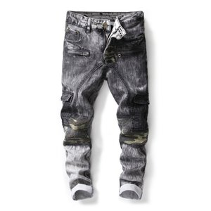 Wholesale 2018 Men s Camouflage Fake Zippers Patchwork Jeans Ripped Gray Biker Denim Jeans for Men Straight Slim Night Club Denim Trousers