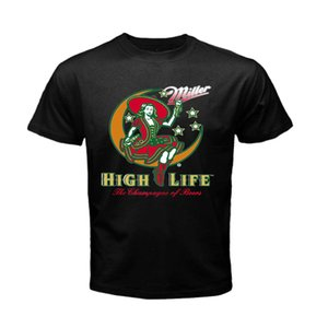 Wholesale MILLER High Life Draft Beer Logo Pabst Blue Coors T Shirt Mens S to XL Cotton Cool Design D Tee Shirts Print T Shirt Male Brand