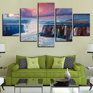 Wholesale waterfall canvas art resale online - Modern Canvas Pictures Wall Art HD Prints Posters Pieces High Mountains And Rivers Waterfall Paintings Home Decor Framework