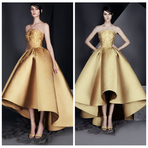 Wholesale gold studios for sale - Group buy 2021 Strapless Gold Ashi Studio Short Prom Dresses Embroidery Pleated Satin Ruched Evening Party Gowns High Low Celebrity Gowns