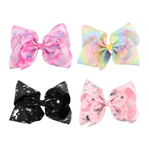 Wholesale 7inch Metalic Printed Ribbon Hair Bows With Clips For Kids Girls Handmade Big Heart Unicorn Bows Headband Hairpins Hair Accessories Gift