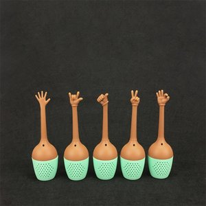 Wholesale Funny Hand Gestures Tea Tool 5 Pieces In One Set Silicone Tea Strainers Herb Loose Leaf Filter Tea Bags 5fl X