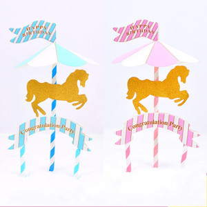 Wholesale merry go round resale online - Merry Go Round Cake Flags Happy Birthday Congratulation Party Stand Flag Hand Made Paper Baby Shower Supplies Pink Blue hq B
