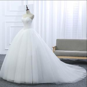 2017 New Lace Strapless Sleeveless White Satin Court Train Bridal Wedding Dress Wedding Ball Gown