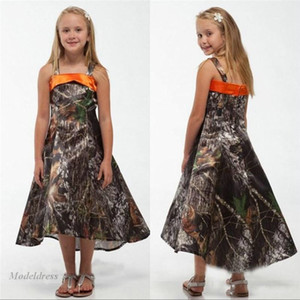 Camo Flower Girls Dresses for Coutry Weddings Unique Design Spaghetti Straps A Line Tea Length Junior Bridesmaid Dresses Children on Sale