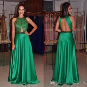 Fashion Green Jewel Crystal Beaded Evening Dresses A Line Floor Length Sexy Backless Formal Prom Gowns Free Shipping on Sale