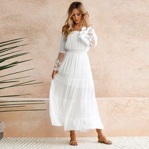 Wholesale Elegant Lace White Tunic Summer Maxi Dress Women Slash Neck Strapless Long Sleeve Beach Boho Long Dress Vintage Dresses Vestidos