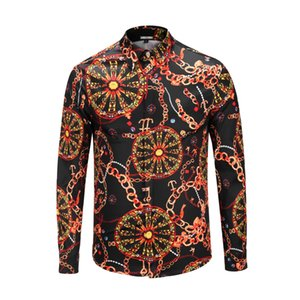 Wholesale Seetern Brand Clothing Black Men Shirt Printed Wheel Chain Swallow Boat Anchor Key Gem Long Sleeve Shirt Fashion new Youth Tops