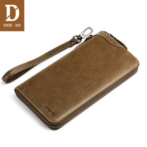 Wholesale DIDE Large Capacity Genuine Leather clutch Bag men Daily handbag Men s Wallet Bags Phone Wallets Wrist strap Wallet Male Brand