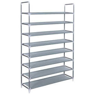 Borndo Storage 8 Tier Shoe Rack 32 Pairs Shoe Organizer Shoes Storage Shelf Shoe Tower - No Tools Required Non-woven Fabric for Home Bedroom