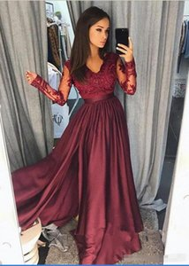 Wholesale Burgundy Prom Dresses with lace long sleeves 2018 Sheer Vintage A Line V Neck Lace Formal Evening Party Wear Pageant Gowns Arabic