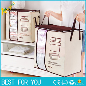 Wholesale 2018 new Non woven Portable Clothes Storage Bag Organizer cm Folding Closet Organizer For Pillow Quilt Blanket Bedding