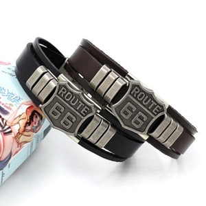 Wholesale route 66 resale online - Mens Fashion ROUTE Rivet Charm Punk Retro Multilayer Leather Bracelets For Men Cuff Bangles Jewelry Gifts