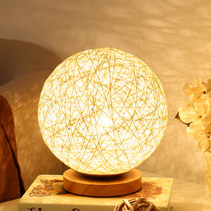 Wholesale 220v Wicker Rattan Ball Table Lamp Diameter 15cm Takraw night light desk lamp for Bedroom living room EU plug indoor lighting