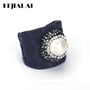 Wholesale KEJIALAI Luxury Jewelry Natural Freshwater Pearl Bead Rhinestone Charm Blue Real Snake Leather Adjustable Open Ring Cuff Women