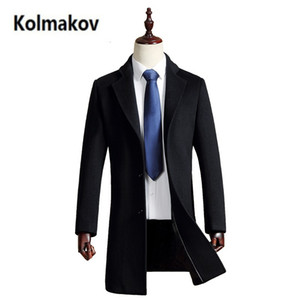 Wholesale 2017 new Men s Wool Coats Cashmere Jacket Man Long fashion Single Breasted Turn down Collar Casual Woolen Overcoat full size
