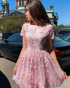 Wholesale Dorable Pink Lace Homecoming Dresses With Short Sleeves Formal Party Gowns Zipper Up Back Short Prom Dresses th Grade Girls Cocktail Dress