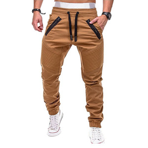 Men's Running Pants Drawstring Zipper Joggers Solid Multi-pocket Pants Sweatpants Joggers 2018 Male Trousers Large Size