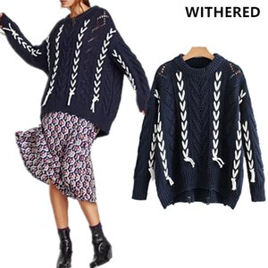 Wholesale Withered winter sweater women christmas sweater vintage Bandage boyfriend striped oversize loose batwing sweater women tops