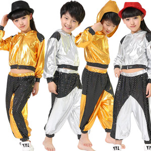 Wholesale Girls Boys Gold Silver Ballroom Jazz Hip Hop Dance Competition Costume Kid Clothing Clothes Hoodie Shirt Top Pants Dancing Wear