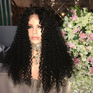 Wholesale Factory unprocessed soft pure virgin human hair natural color kinky curly long full lace top wig for sale