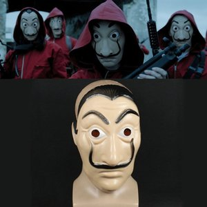 Wholesale Cosplay Party Mask La Casa De Papel Face mask Salvador Dali Costume Movie Masks Realistic Christmas Halloween XMAS Masque Money Heist Props