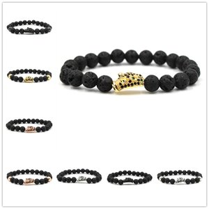 8 Color 8MM Black Lava Stone Beads Crystal Ball Hexagon Charms Perfume Diffuser Bracelet Yoga Pulseira Feminina Buddha Jewelry