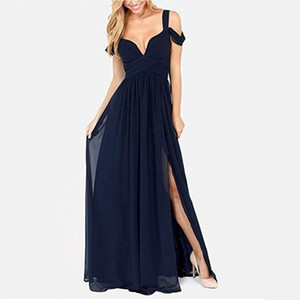Sexy Off The Shoulder Bridesmaid Dresses Side Slit Long Ruffles Chiffon Prom Dresses Formal Party Gowns For Women on Sale