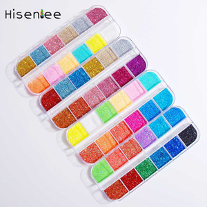 12 Grids Box New Fashion Glamour Japanese Style Shiny Candy Color Colorful Glitter Special DIY Rainbow Nail Art Craft Decoration