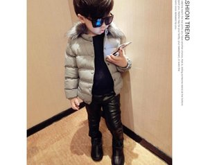 Wholesale New Korean style winter warm cotton lining Snap button jacket outerwear with fur collar for boys