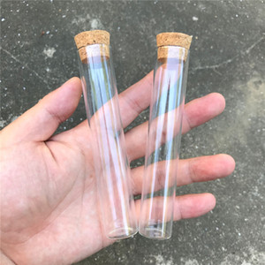 Wholesale 22 mm ml Empty Glass Transparent Clear Bottles With Cork Stopper Glass Vials Jars Storage Bottles Test Tube Jars