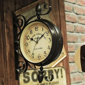 Wholesale European retro nostalgia cafe clothing store wall mounted decorative wrought iron double sided wall clock Deep coffee iron