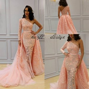 2018 Overskirt Mermaid Formal Dresses Evening Wear One Shoulder Long Sleeve Blush Peach Sweep Train Yousef Aljasmi Lace Floral Prom Dress on Sale