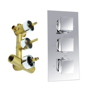 Wholesale Hot Sales Shower Mixer Chrome Finish Shower Faucet Wall Mounted Handles Shower Brass Thermostatic Faucet For Bathroom Set