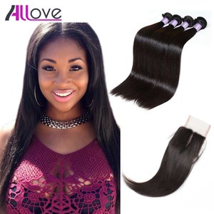 Cheap 8A Peruvian Virgin Hair Extensions Straight 4PCS With 4x4 Lace Closure Brazilian Hair Bundles With Closure Wholesale Free Shipping