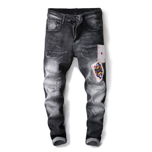 Wholesale Punk Style Brand Mens Jeans Distressed Hole Multi Fake Zippers Patchwork Denim Jeans For Men Vintage Blue Embroidery Biker