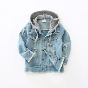 Wholesale Toddler Kids Denim Jacket Baby Boys Clothes 2018 Autumn Children Long Sleeve Hooded Coat Jaqueta Jeans Infantil Manteau Garcon